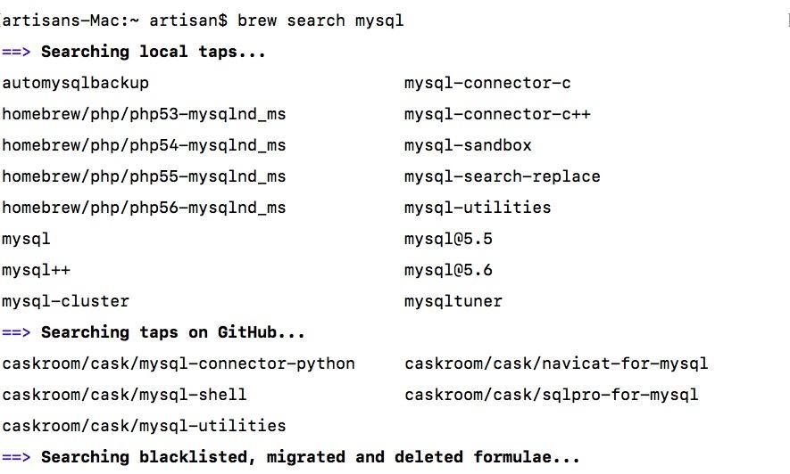 使用homebrew搜索mysql5.7